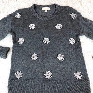 Michael Kors Gray Gem Embellished Accent Sweater